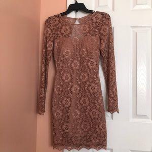 dusty rose lace dress
